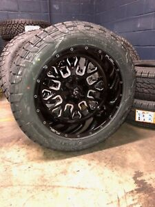 22 22x12 D611 Stroke Black Wheels 35 Fuel At Tire Package 8x6 5 Chevy Gmc 8lug