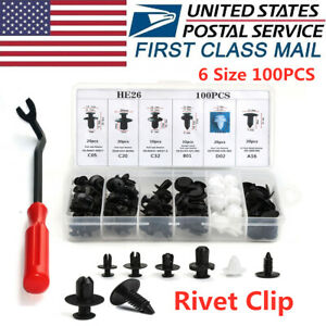 100pcs Automotive Car Part Rivet Trim Panel Push Pin Bumper Cover Retainer Clip