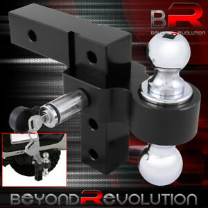Black Aluminum Adjustable Raise lower 2 Tow Hitch Hook Dual Ball Mount Lock