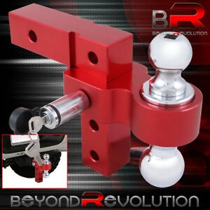 Red Aluminum Adjustable Raise lower 2 Tow Hitch Hook Dual Ball Mount Lock
