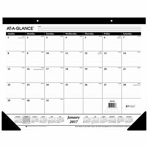 At a glance Desk Pad Calendar 2017 Monthly Ruled 21 3 4 X 17 Sk24 00 Pack Of
