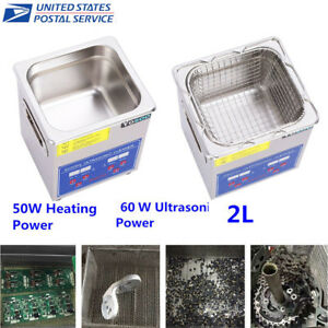 2l 50w Ultrasonic Cleaner Stainless Steel Industry Heated Heater Tank W timer Us