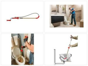 6 Ft Toilet Plumbing Snakes Hand Tool Cable Drain Detachable Safe Cleaning Auger