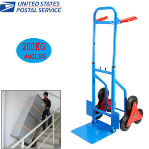 440lbs Industrial Heavy Duty Stair Climbing Folding Hand Truck Wheels Cart Dolly