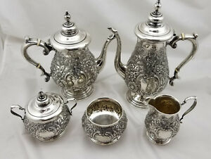 Reed Barton Sterling Repousse 5 Pc Coffee Tea Service Colonial Manor Circa 1760