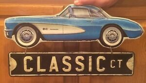 Chevrolet Corvette Classic Ct Embossed Metal Route 66 Man Cave Garage Harley
