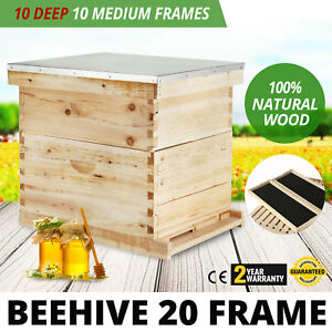 Beehive 20 Frame Complete Box Kit 10 Deep And Medium With Metal Top New