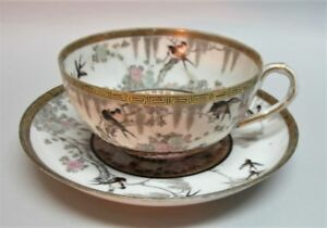 Fine Hand Painted 19th C Japanese Eggshell Porcelain Tea Cup W Wisteria