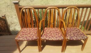 3 Uldum Mobelfabrik Teak Mid Century Danish Modern Dining Chairs 2 Side 1 End