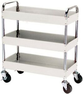 Three Shelf Metal Rolling Mobile Steel Utility Tool Service Push Cart Truck