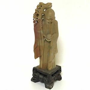 8 Tall Vintage Oriental Chinese Soapstone Carving Of Immortal Scholar