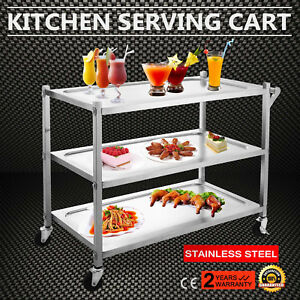 3 Tier Stainless Steel Catering Cart Restaurant Dining Rolling Utility 3 Shelves
