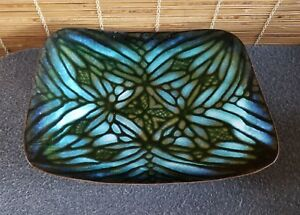 Mid Century Abstract Design Blue Enamel Copper Dish 10 3 4in X 8 1 2in