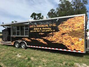 8 6x32 Custom Enclosed Concession Food Vending Bbq Trailer