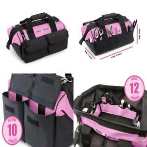 Pink Power 16 Tool Bag For Women With 22 Storage Pockets And Shoulder Strap