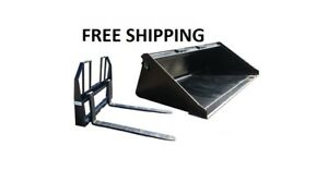 78 Smooth Bucket And 48 Walk Thru Pallet Forks Combo Skid Steer Free Shipping