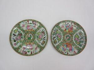 Two Antique Hand Painted Chinese Rose Medallion Porcelain Plates 9 1 2