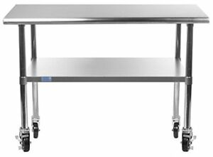 Amgood Stainless Steel Work Table With Undershelf Casters Wheels Food Prep