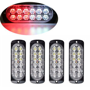 4pc Red White 12led Car Truck Emergency Warning Hazard Flash Strobe Light