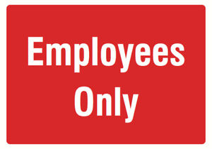 Employees Only Red Sign Large Door Front Office Notice Sign 4 Pack 12x18
