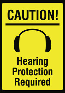 Hearing Protection Required Sign Large Ear Plug Noise Plastic 4 Pack 12x18