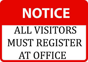 All Visitors Must Register At Office Large Check In Signs Plastic 6 Pack 12x18