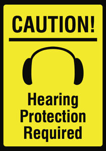 Hearing Protection Required Sign Large Ear Plug Noise Plastic 6 Pack 12x18