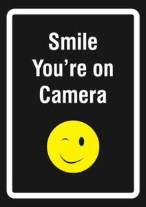 Smile Youre On Camera Large Inch Video Surveillance Warning Signs 6 Pack 12x18