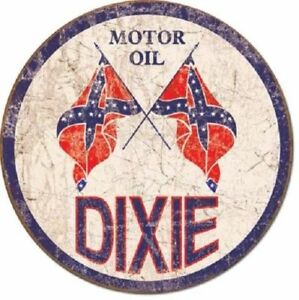 Dixie Motor Oil Co 12 Round Vintage Style Metal Signs Man Cave Garage Decor 69