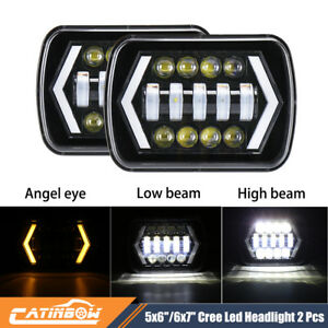 Pair 6x7 Led Headlights Drl Turn Signal Headlamp For Jeep Cherokee Xj Trucks