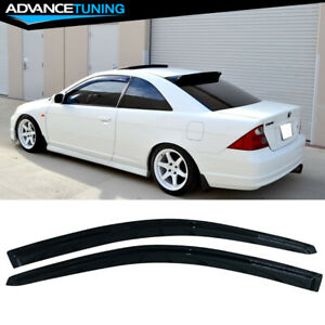 Fits 01 05 Honda Civic Coupe Acrylic Window Visors 2pc