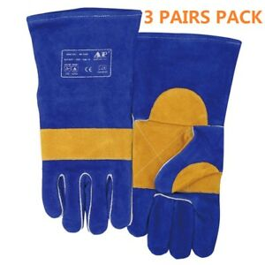 Ap 1166 3 Pairs 14 Heavy Duty Fr Cowhide Leather Stick Mig Welding Gloves Xl