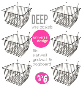 Only Hangers Deep Wire Baskets For Gridwall Slatwall And Pegboard Black 6pk