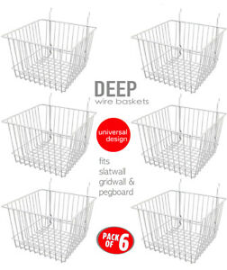 Only Hangers Deep Wire Baskets For Gridwall Slatwall And Pegboard White 6pk