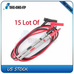 15 Sets Black Red Probe Test Lead 1000v Digital Multimeter Multi Meter Pen