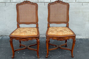 Pair Of Walnut French Louis 16 Xvi Side Chairs Hand Carved Antique 19th Century