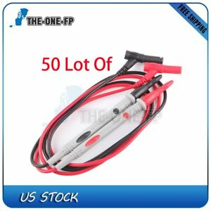 50 Sets Black Red Probe Test Lead Multimeter Digital Durable Silicone 1m
