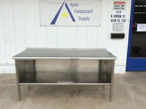 All Stainless 72 Work prep Table W cabinet backsplash Guard 3065