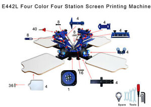 4 Color 4 Station Micro Registration Silk Screen Printing Machine T shirt Print
