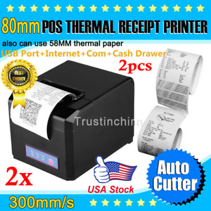 2 Lot Hoin 80mm 58mm Pos Dot Receipt Paper Barcode Thermal Printer Usb lan Port