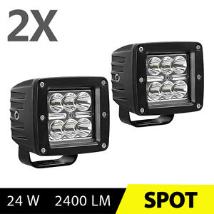 2x 24w 3inch Led Work Lights Pods Spot Offroad Backup Lamp Atv Jeep Ute 4 Cube