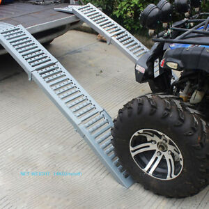 Folding Aluminum Lawn Garden Car Short Bed Truck Ramps motorcycle Ramp