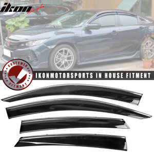 Fits 16 18 Honda Civic Sedan Polycarbonate Window Visors W Chrome Trim 4pc Set