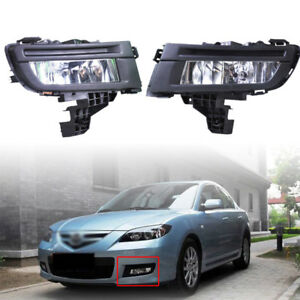 2 Pieces 51w Front Left Right Fog Lights Fog Lamp Blub Fit For Mazda 3 2007 09