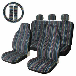 Universal Colorful Baja Saddle Bucket Seat Cover With Steering Wheel Cover