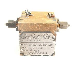 Microsource Filter Model Msp0618 296 02 Freq 6 0 18 0