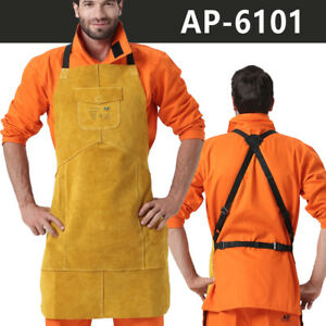 Ap 6101 Golden Fire Resistant 42 Full Leather Welding Bib Blacksmith Apron