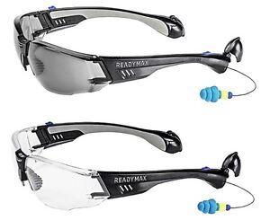 Lot 4pc Readymax Construction Safety Glasses With Earplugs Eye Ear Protection