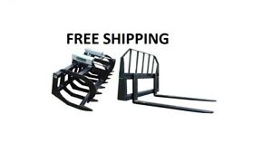 66 Brush Grapple And 48 Pallet Forks Combo Skid Steer Free Shipping