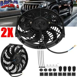 2x 12inch Slim Push Pull Electric Radiator Engine Cooling Fan 12v Kits Universal